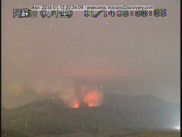 Active vents of Nakadake crater, Aso volcano (Japan)