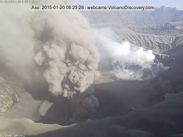 Ash plume from a strombolian explosion in Aso's Nakadake crater this morning