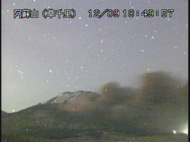 Glow and ash emissions from Aso's Nakadake crater