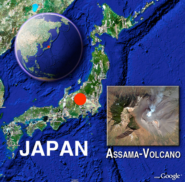 Asama volcano satellite image by (c) Google Earth View & VolcanoDiscovery