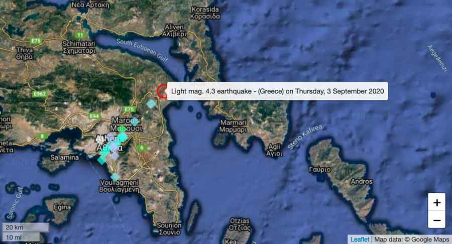 Location and user reports of this afternoon's quake in Athens, Greece