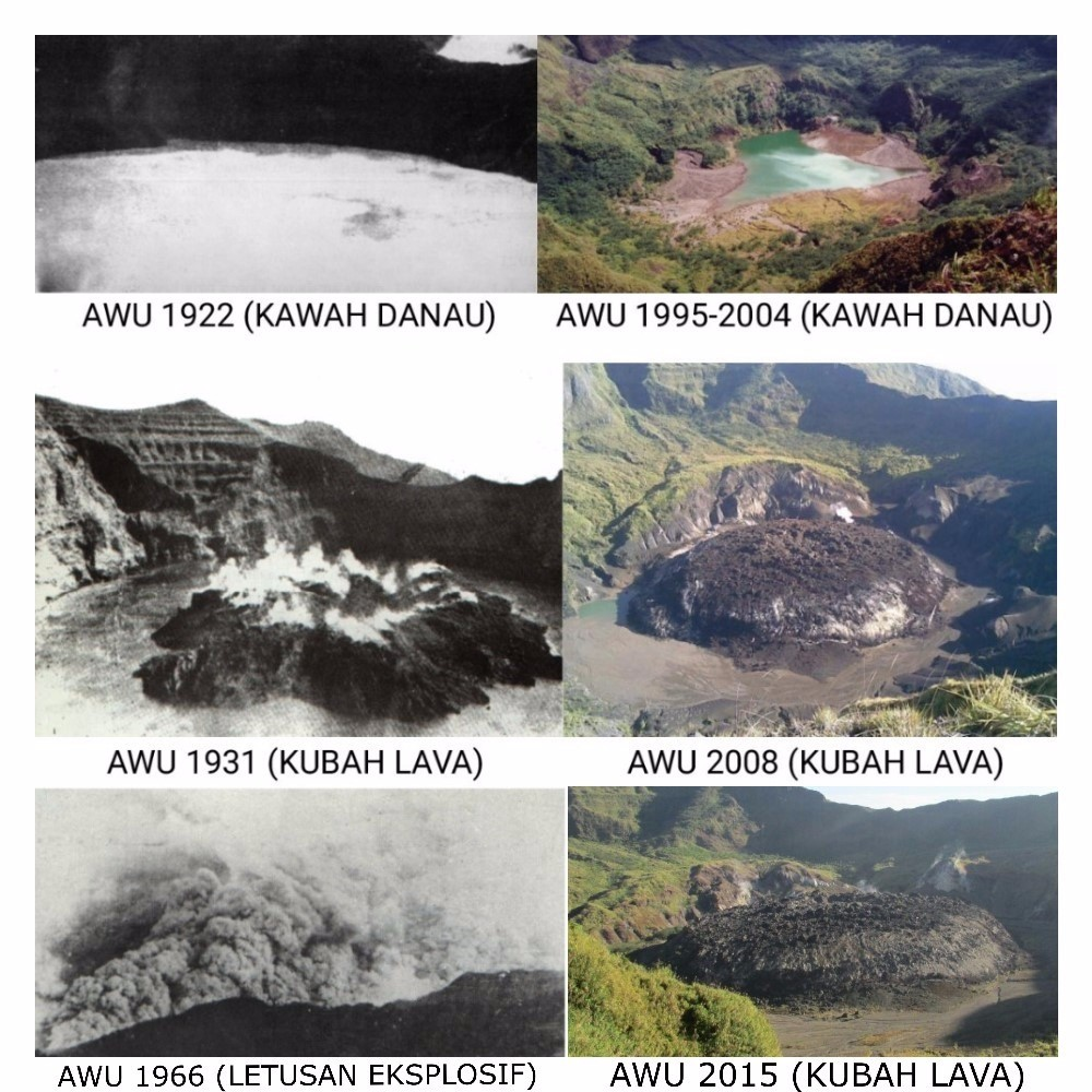 The crater of Awu and its lava dome over the past century (VSI)