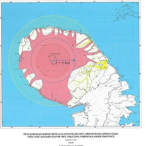 Volcanic hazard map of Awu volcano (VSI)
