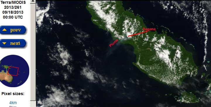 Bougainville Island (PNG) with Bagana volcano and a gas (with ash?) plume drifting SW (Terra / NASA satellite image 18 Sep)