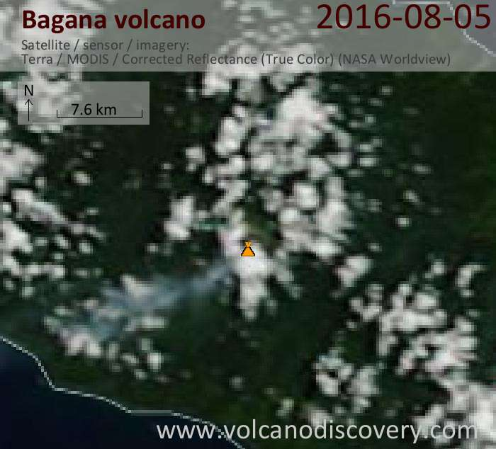 Bagana volcano this morning with a small plume extending SW