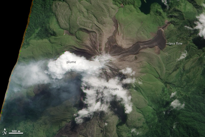 NASA image of Bagana from 16 May 2012 showing an active steaming lava flow