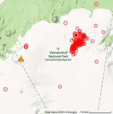 Locatie van aardbevingen op Bardarbunga vanochtend
