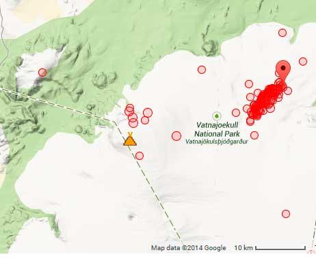 Aardbevingen onder Bárdabunga vulkaan tijdens de eerste 10 uren van vandaag