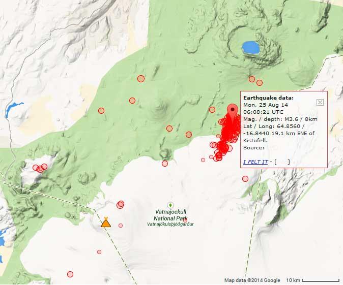 Location of today's earthquakes near Bardarbunga volcano