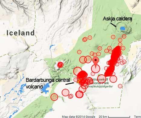 Recent earthquakes at Bardarbunga volcano (marker shows this morning's magnitude 5 quake)