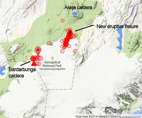 Location of the new eruptive fissure and earthquakes so far today