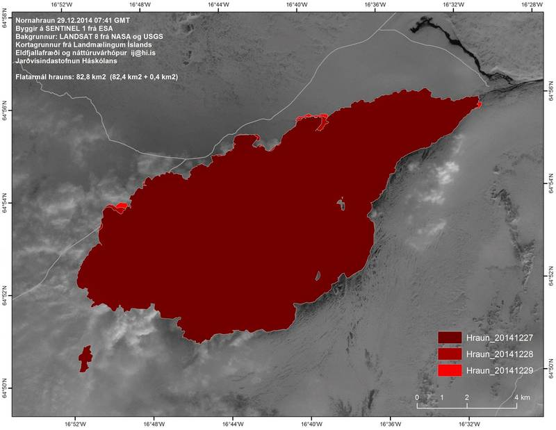 Map of the Nornahraun lava field as of 29 Dec 2014 (Univ. Iceland)