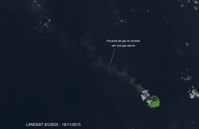 Ash and steam plume from Barren Island on 16 Nov (Landsat 8 image, annotated by Culture Volcan)