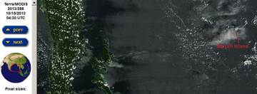 Terra satellite image from yesterday showing Barren Island with what might be a small eruption plume (NASA)