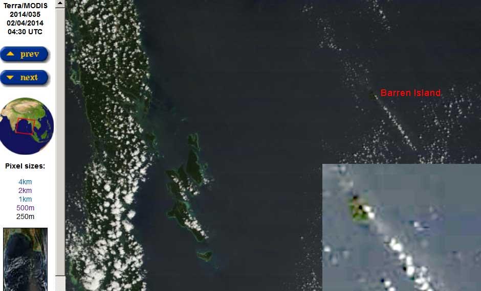 Gas and ash plume from Barren Island today (MODIS/Terra, NASA)