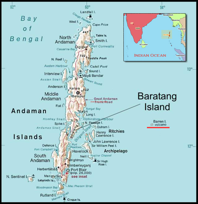 Map of the Andaman Islands with the location of Barren Island.