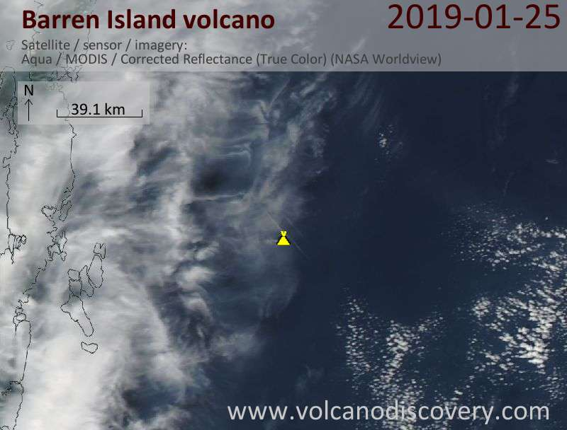 Satellite image of Barren Island volcano on 26 Jan 2019