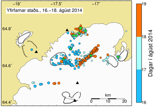 All manually checked earthquakes since the beginning of the sequence. Event times are colour coded, events larger than magnitude 3 are given as green stars. The migration of the activity from the caldera of Bárðarbunga (dark blue, Saturday) to the northern and eastern clusters (light blue, Sunday; orange Monday) can be seen. (IMO)
