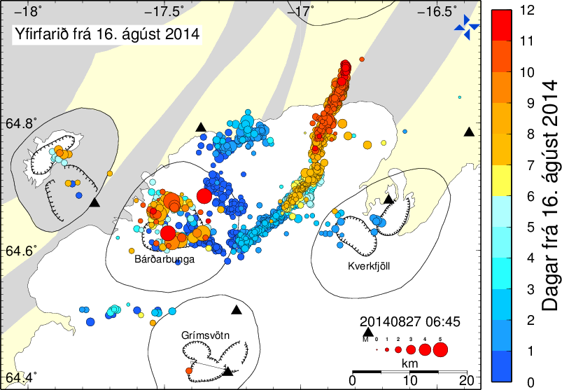 Location of earthquakes since the start of the crisis. The current position of the magma intrusion front is marked by the youngest quakes (red) (IMO)