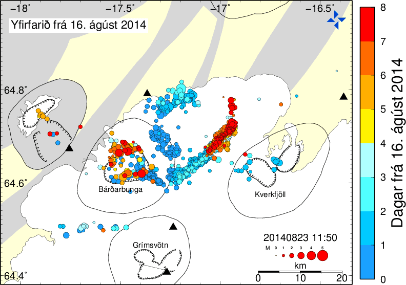 Location of earthquakes since the start of the crisis (red: today) (image: IMO)