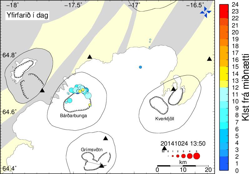 Earthquakes today under Bárdarbunga volcano (IMO)