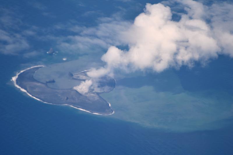 Photo of Bogoslof Island, June 11, 2017. Photo taken from an Alaska Airlines jet enroute to Adak (image: Cyrus Read, USGS/AVO)