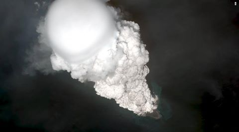 Bogoslof's eruption column with the white steam head entering the lower stratosphere on 28 May 2017 (image: Dave Schneider, USGS Volcanoes/AVO