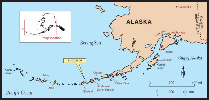 Map of Bogoslof volcano (image: AVO / USGS)