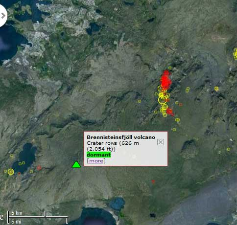 Map of the quakes (red: within 48 hours, yellow: past week)