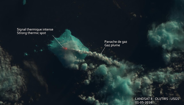 Gas and steam plume from Bristol volcano (Landsat 8 image, annotated by Culture Volcan)