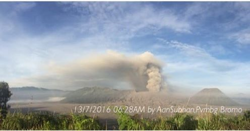 Ash plume from Bromo volcano on 13 July 2016