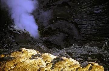 View into Bromo's smoking crater