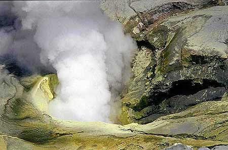 Bromo's crater with yellow sulfur deposits