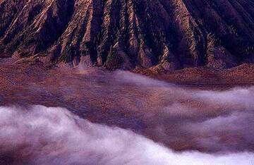 Fog at Batok volcano's feet