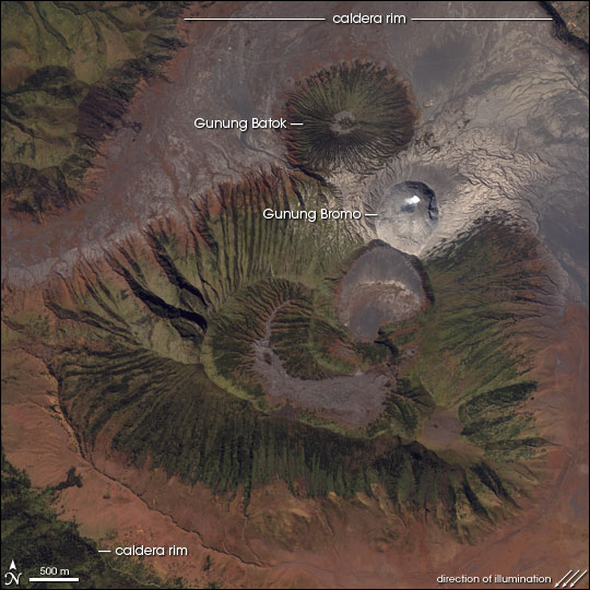 NASA space image of Bromo volcano, located inside the Tengger caldera.