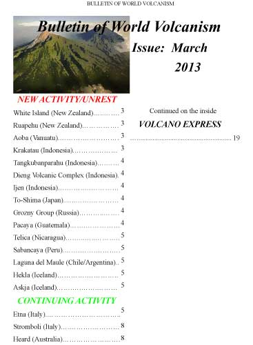 Bulletin of World Volcanism March 2013 - cover