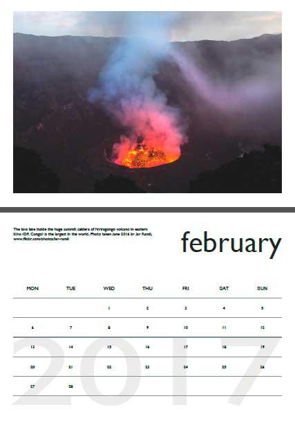 Volcano calendar 2017 - February preview