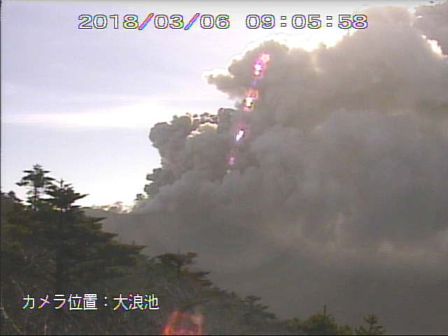 Ash emissions from Kirishima volcano this morning (JMA webcam)