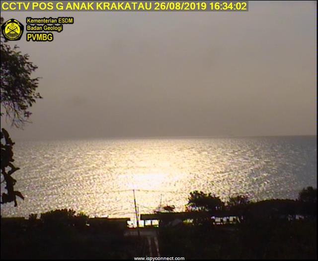 View  from the observatory towards Krakatau volcano hidden in evening haze