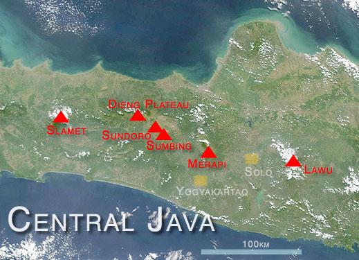 Major volcanoes of Central Java (satellite image: NASA)