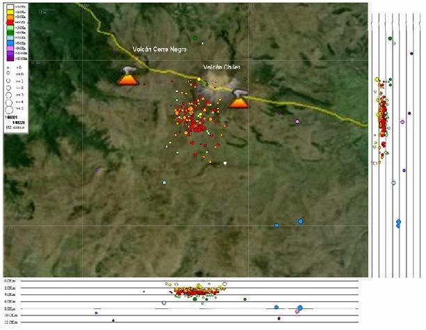 Map of seismicity near Cerro Negro volcano (Image: INGEOMINAS / Pasto Observatory)