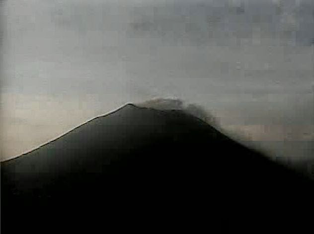 Ash puffs from Chaparrastique volcano on 19 May