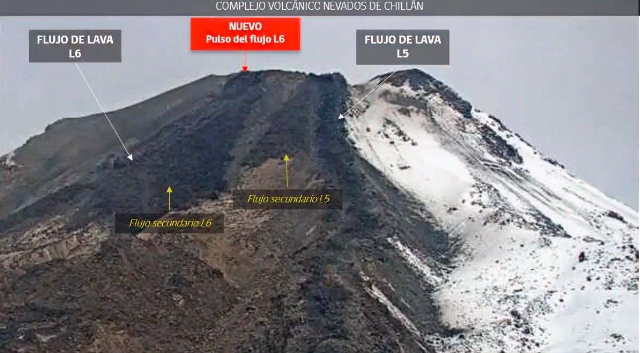 Webcam screenshot from the current effusive eruption at Nevados de Chillán volcano (image: SERNAGEOMIN)