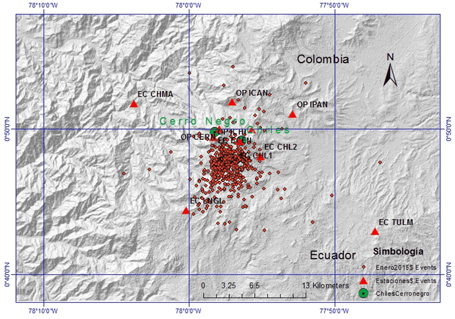 Earthquake locations at Chiles volcano during 1-8 Jan 2015 (IGEPN)