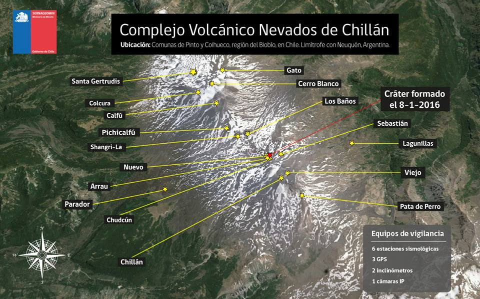 Map of the Nevados de Chillán complex (Sernageomin)