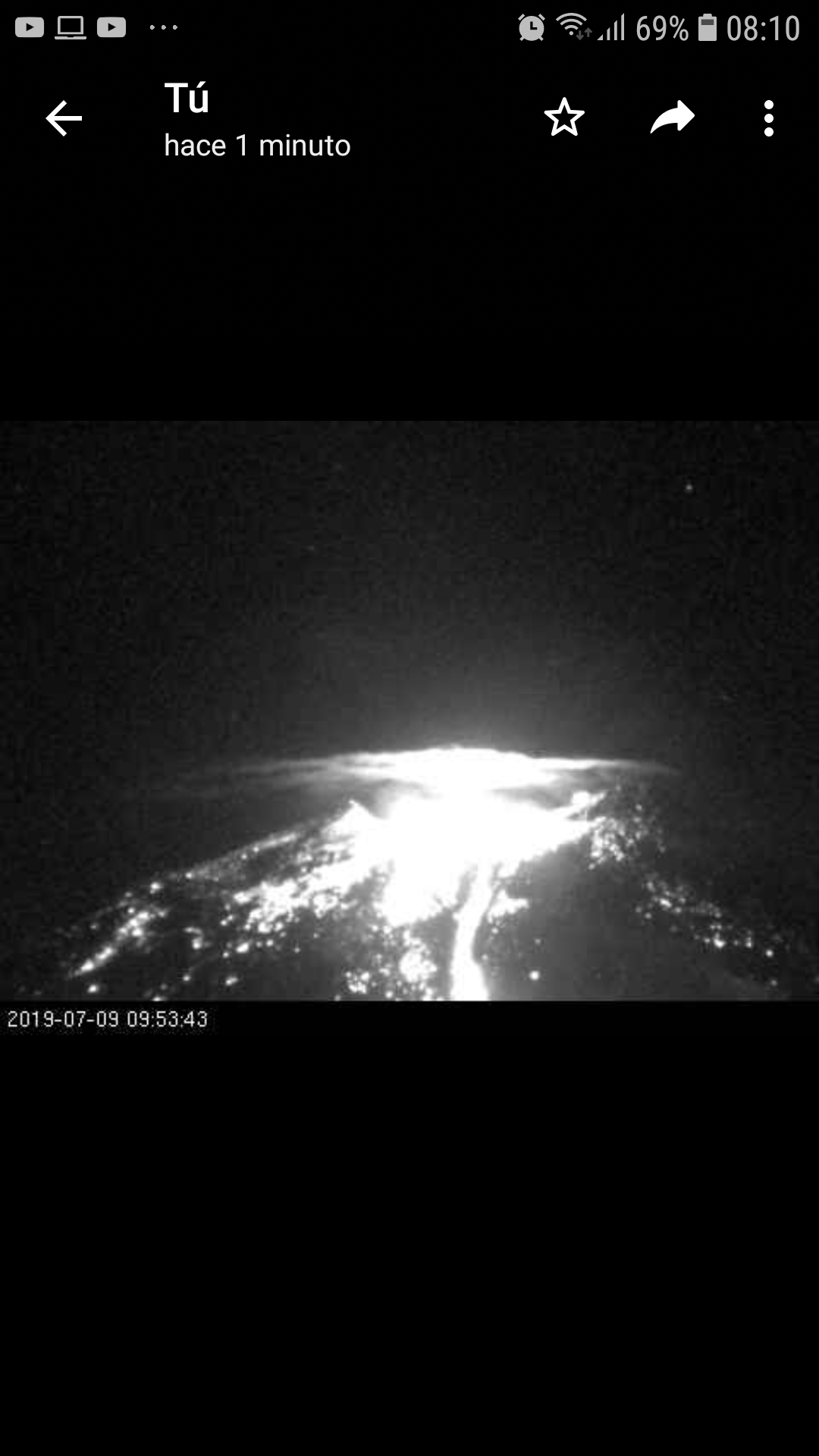 Eruption of Nevados de Chillán volcano yesterday morning (image: webcam capture, submitted by user)