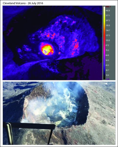 Images of Cleveland's summit crater and lava dome on 26 July 2016. Top image is infrared (warmer colors = hotter temperatures) (image: John Lyons / AVO)