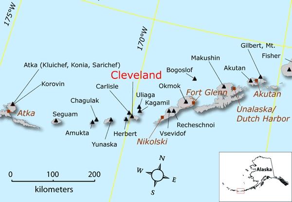 Location map of Cleveland volcano, Alaska (image: Janet Schaefer, Alaska Volcano Observatory / Alaska Division of Geological & Geophysical Surveys)