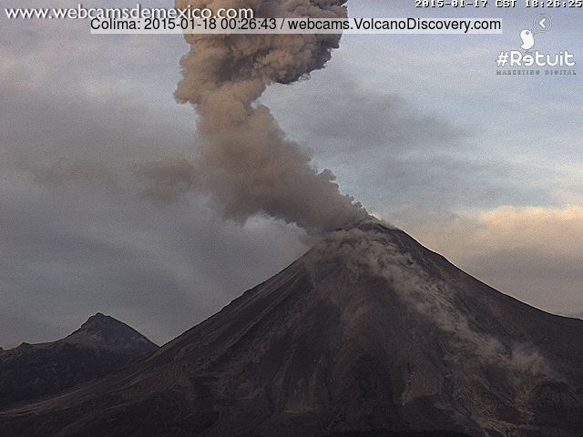 Explosion at Colima volcano this morning