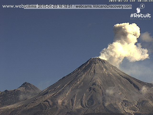 Explosion from Colima volcano yesterday